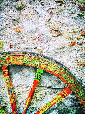 Art Print featuring the photograph Traditional Sicilian Cart Wheel Detail by Silvia Ganora