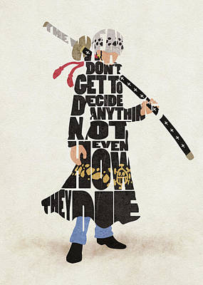 Digital Art - Trafalgar D. Water Law Typography Art by Inspirowl Design