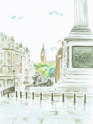Art Print featuring the painting Trafalgar Square by Elizabeth Lock