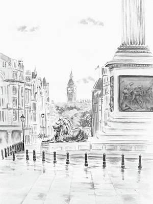 Art Print featuring the digital art Trafalgar Square II by Elizabeth Lock