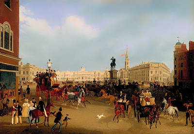 Women On Horses Painting - Trafalgar Square by Mountain Dreams