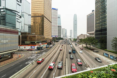Photograph - Traffic In The Heart Of Hong Kong Island Central Business And Fi by Didier Marti