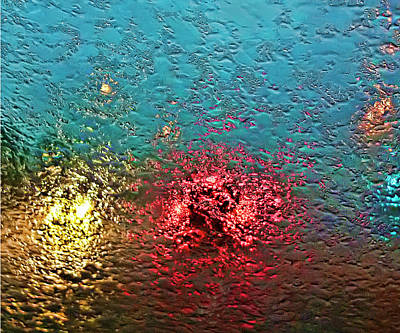 Traffic In Torrential Rain Art Print