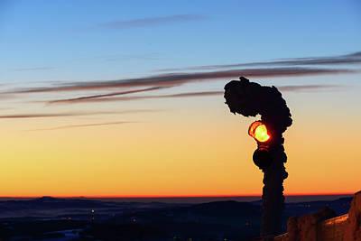 Photograph - Traffic Light At Jested Mountain Peak. Cold Morning Near Town Liberec. Jizerske Hory, Czech Republic. by Marek Kijevsky