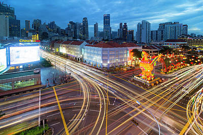 Trail Photograph - Traffic Light Trails In Singapore Chinatown by David Gn