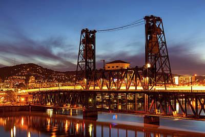 Traffic Light Trails On Steel Bridge Art Print by David Gn