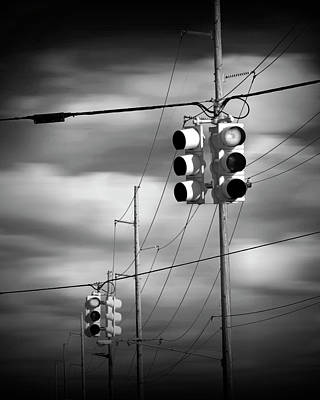 Photograph - Traffic Lights And Gray Clouds In Black And White by Randall Nyhof