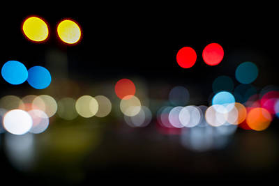 Out Of Focus Photograph - Traffic Lights Number 14 by Steve Gadomski
