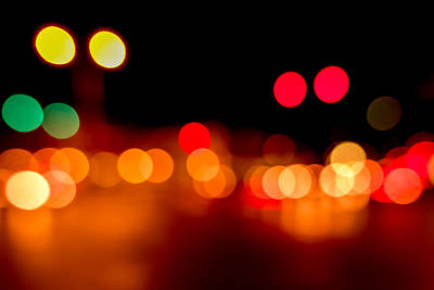 Out Of Focus Photograph - Traffic Lights Number 5 by Steve Gadomski