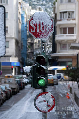 Photograph - Traffic Lights With Snow by George Atsametakis