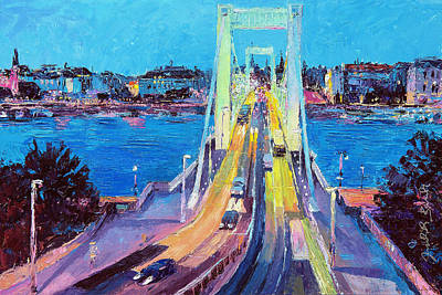 Traffic On Elisabeth Bridge At Dusk Art Print