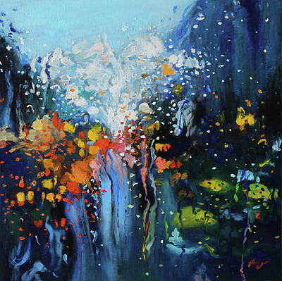Lights In Tunnel Painting - Traffic Seen Through A Rainy Windshield by Dan Haraga