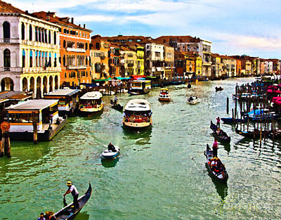 Photograph - Traghetto, Vaporetto, Gondola  by Tom Cameron