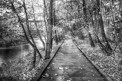 Photograph - Trail At The River Black And White by Debra and Dave Vanderlaan
