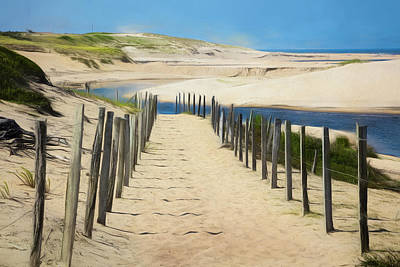 Photograph - Trail In The Sand Dunes Watercolor Painting by Debra and Dave Vanderlaan