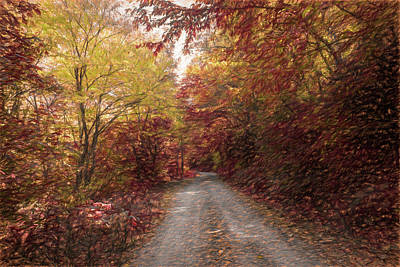 Photograph - Trail Into Fall Painting by Debra and Dave Vanderlaan