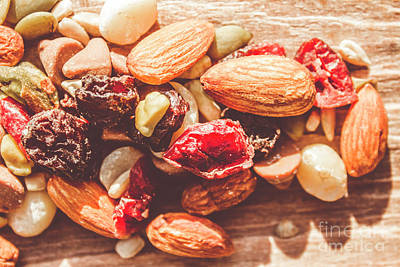Almond Photograph - Trail Mix High-energy Snack Food Background by Jorgo Photography - Wall Art Gallery