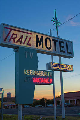 Print featuring the photograph Trail Motel At Sunset by Matthew Bamberg