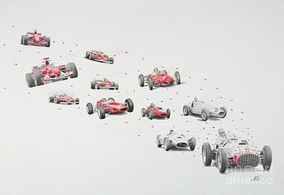 Benetton Wall Art - Drawing - Trail Of Champions Ferrari by Lorenzo Benetton