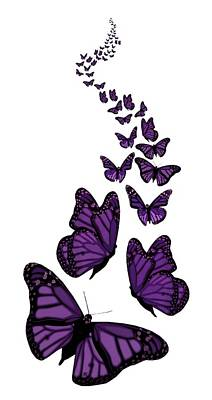 Digital Art - Trail Of The Purple Butterflies Transparent Background by Barbara St Jean