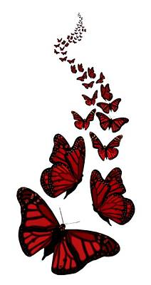 Digital Art - Trail Of The Red Butterflies Transparent Background  by Barbara St Jean