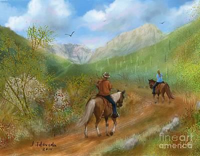 Painting - Trail Ride In Sabino Canyon by Judy Filarecki