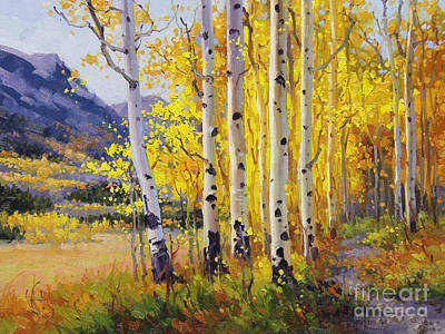 Vibrant Color Painting - Trail Through Golden Aspen  by Gary Kim
