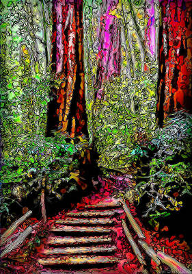 Art Print featuring the digital art Trail Through The Redwoods - Tamalpais California by Joel Bruce Wallach