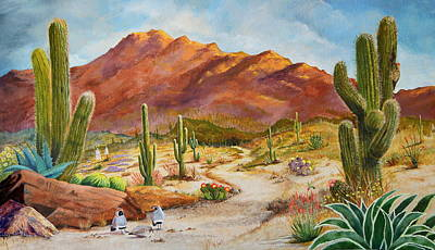 Aloe Painting - Trail To The San Tans by Marilyn Smith