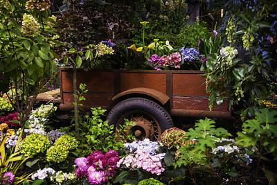Wagon Wheels Photograph - Trailer Full Of Flowers by Garry Gay