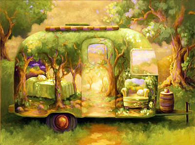 Airstream Painting - Trailer Life by Jane Kiskaddon