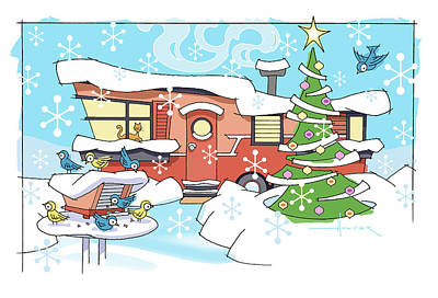 Digital Art - Trailer Park Christmas by Larry Hunter