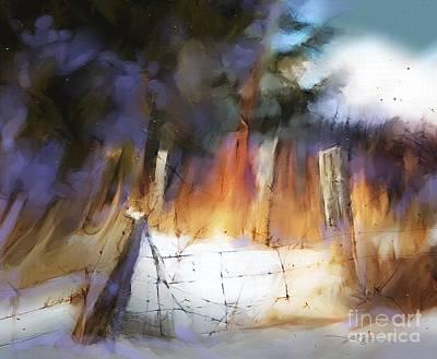 Barbed Wire Fences Digital Art - Trail's End by Bob Salo
