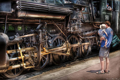 Train - Engine -  90 Great Western - All Aboard Print by Mike Savad