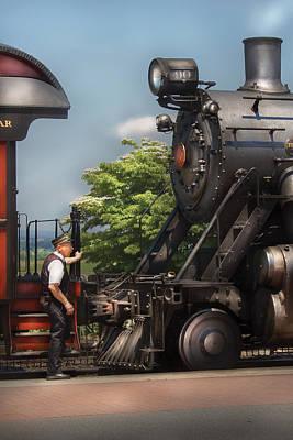 Train - Engine - Alllll Aboard Art Print by Mike Savad