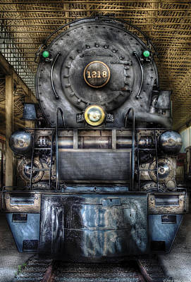 Miksavad Photograph - Train - Engine -1218 - Norfolk Western Class A - 1218 - Front View by Mike Savad