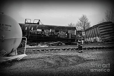 Photograph - Train Accident Fireman On Scene by Paul Ward