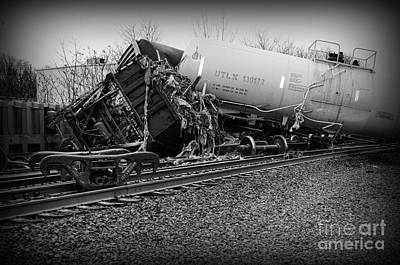 Photograph - Train Accident In Black And White by Paul Ward