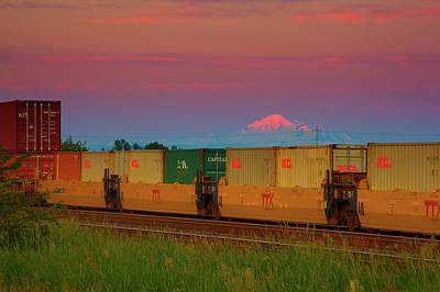 Train And Mount Baker Art Print by Paul Kloschinsky