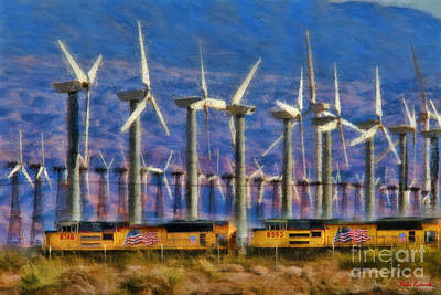 Photograph - Train And Wind Mills by Blake Richards