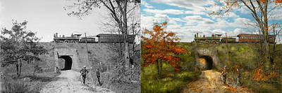 Dickson Photograph - Train - Arlington Nj - Enjoying The Autumn Day - 1890 - Side By Side by Mike Savad
