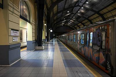 Photograph - Train At Metro Station Awaiting Departure by Radoslav Nedelchev