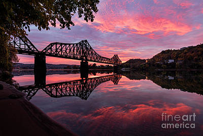 Train Bridge At Sunrise  Art Print