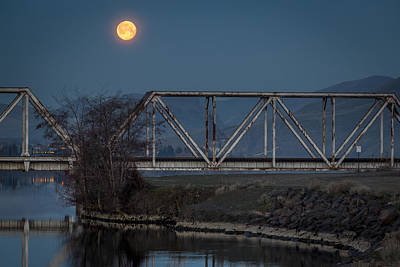 Lewiston Photograph - Train Bridge Moon by Brad Stinson