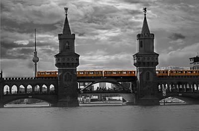 European City Digital Art - Train Bridge  by Nathan Wright