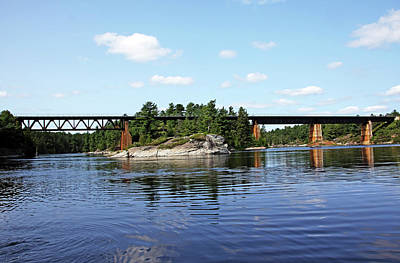 Photograph - Train Bridge Over French River by Debbie Oppermann