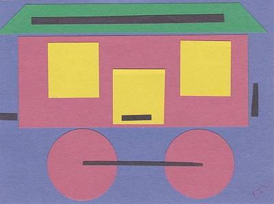 Caboose Mixed Media - Train Caboose by Ellen Jenny Watkins
