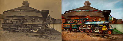 Photograph - Train - Civil War - General Haupt 1863 - Side By Side by Mike Savad