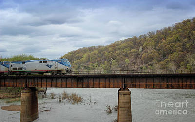 Photograph - Train Crossing The Potomac River by Karen Adams