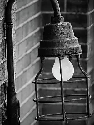 Photograph - Train Depot Vintage Light Fixture - 1b - B/w by Greg Jackson